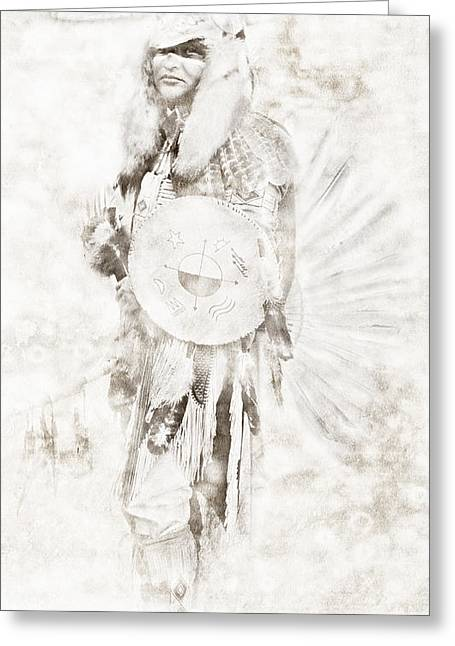 Greeting Card featuring the digital art Native American by Erika Weber