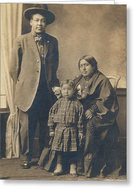 Greeting Card featuring the photograph Native American Family by Paul Ashby Antique Image