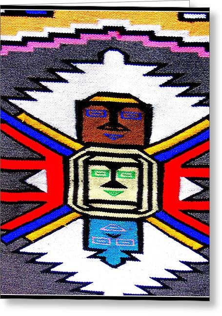 Native American Grey White Quilt Detail Greeting Card by Dora Sofia Caputo Photographic Art and Design