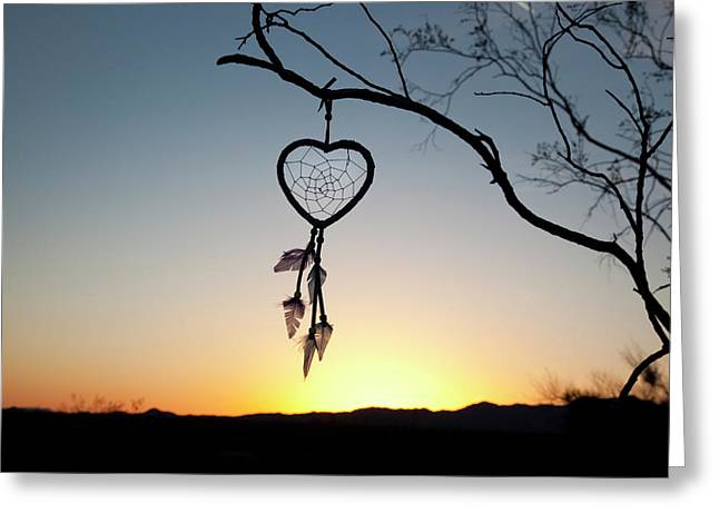 Native American Heart Shaped Greeting Card by Angel Wynn