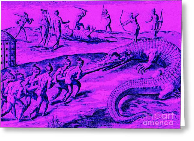 Native American Indian Alligator Hunt Greeting Card by Peter Gumaer Ogden
