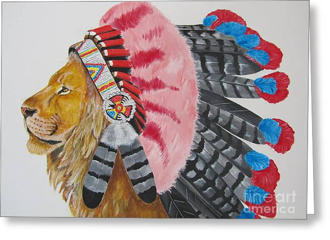 Native American Lion Greeting Card