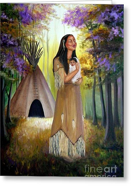 Native American Mother And Child Greeting Card