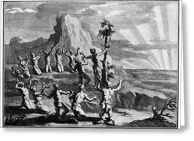 Native American Sun Worshippers Greeting Card by Cci Archives