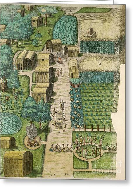 Native American Village, 16th Century Greeting Card by British Library