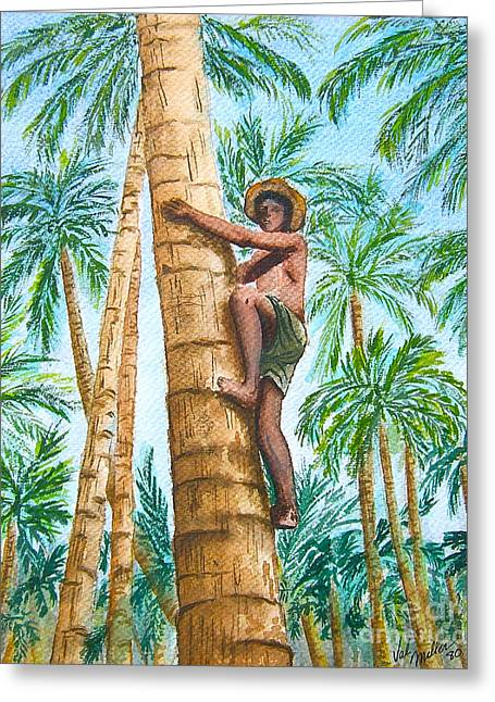 Greeting Card featuring the painting Native Climbing Palm Tree by Val Miller