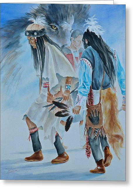 Native Dancers  Greeting Card by Gracia  Molloy