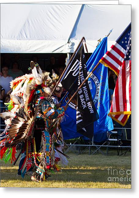 Native Flag Ceremony Greeting Card by Scarlett Images Photography