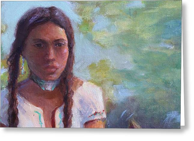 Native Maiden Greeting Card by Gwen Carroll