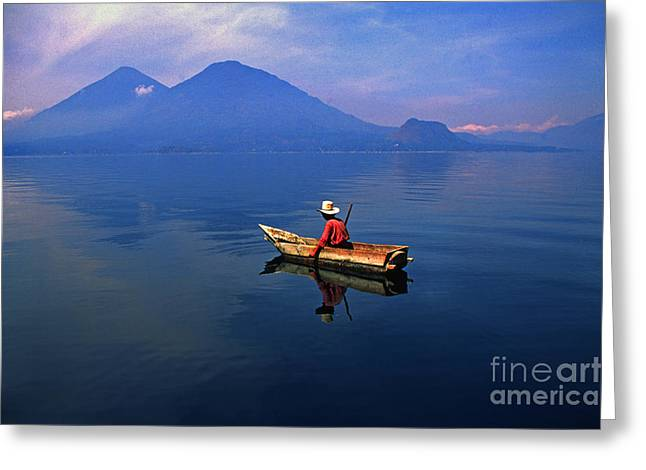 Native Mayan Fisherman On Lake Atitlan Greeting Card by Thomas R Fletcher