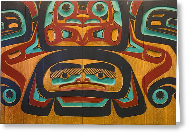 Native Tlingit Carving At The Juneau Greeting Card by Ron Sanford