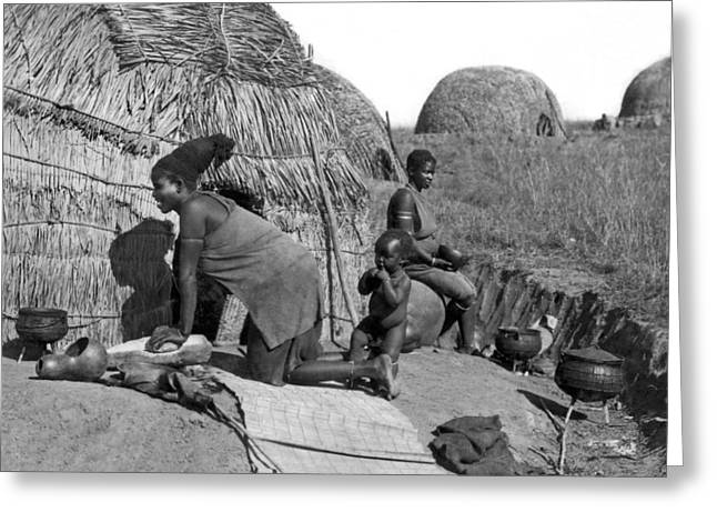 Native Woman Kneading Bread Greeting Card by Underwood Archives