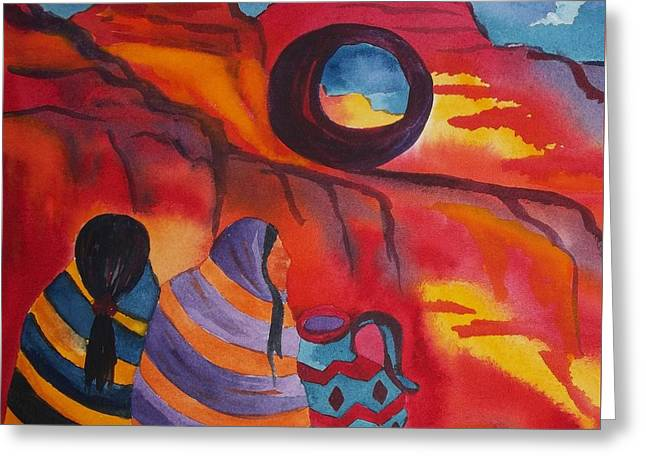 Native Women At Window Rock Square Greeting Card