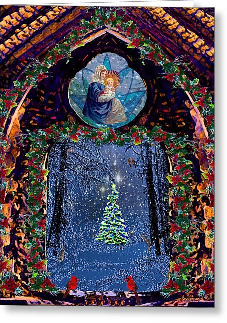 Nativity And Tannenbaum Christmas  Greeting Card by Michele Avanti