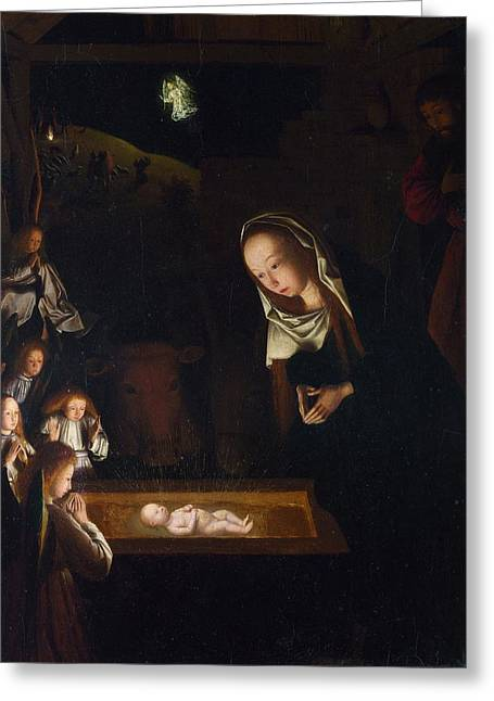 Nativity At Night Greeting Card by Geertgen Tot Sint Jans