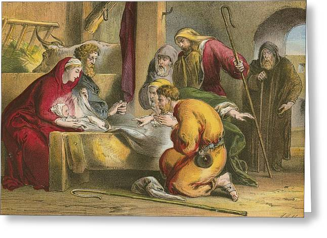 Nativity Greeting Card by English School