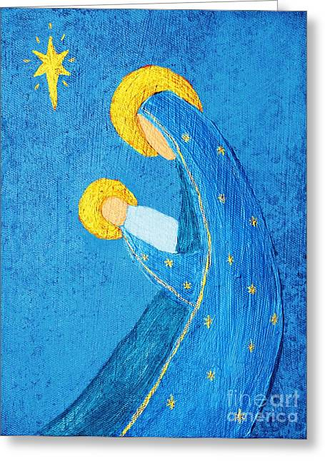 Nativity In Blue Greeting Card