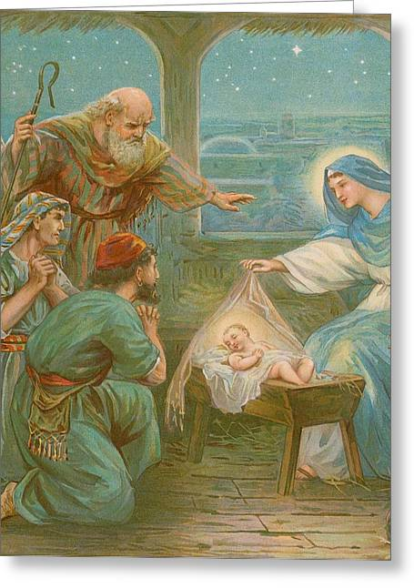 Nativity Scene Greeting Card by English School