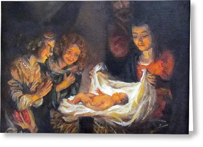 Greeting Card featuring the painting Nativity Scene Study by Donna Tucker