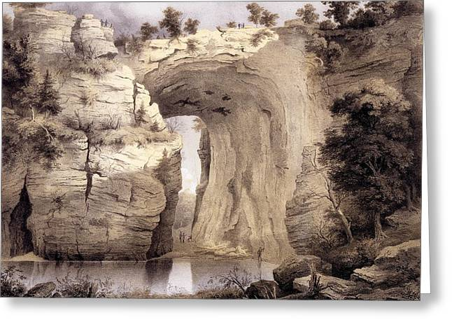 Natural Bridge, Rockbridge County Greeting Card by Edward Beyer