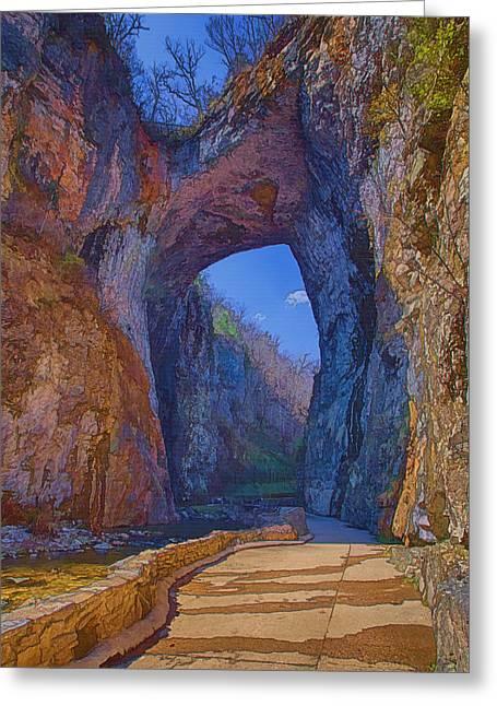 Natural Bridge Virginia Greeting Card by Joan Carroll
