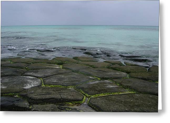 Natural Forming Pentagon Rock Formations Of Kumejima Okinawa Japan Greeting Card by Jeff at JSJ Photography