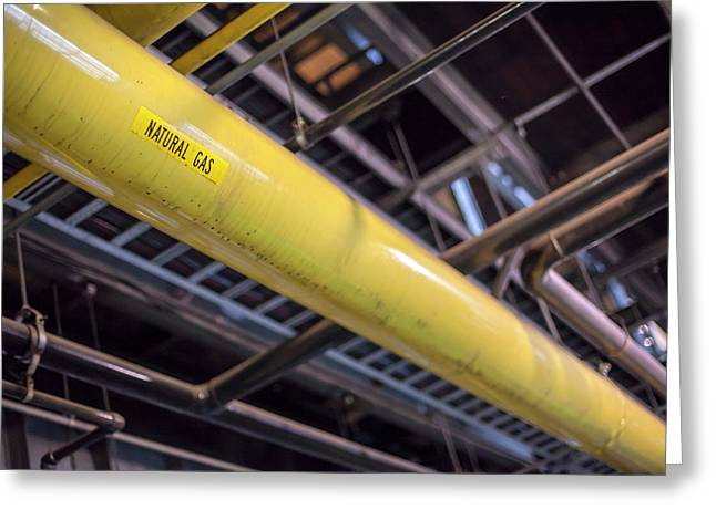 Natural Gas Pipe In A Power Station Greeting Card by Jim West