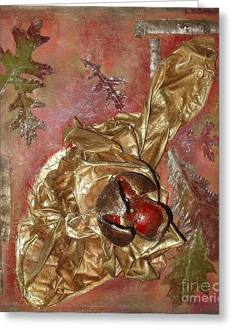 Natural Rythmes - Red Tones  Greeting Card by Delona Seserman