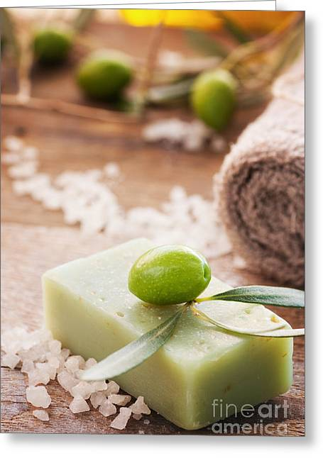 Natural Spa Setting With Olive Oil. Greeting Card
