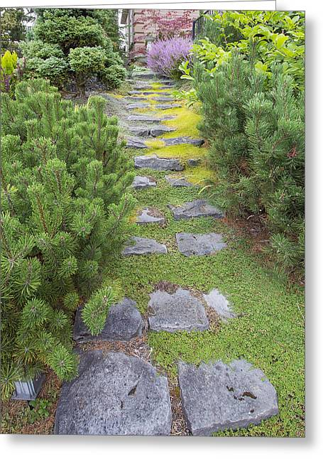 Natural Stone Steps To Frontyard Garden Greeting Card by JPLDesigns