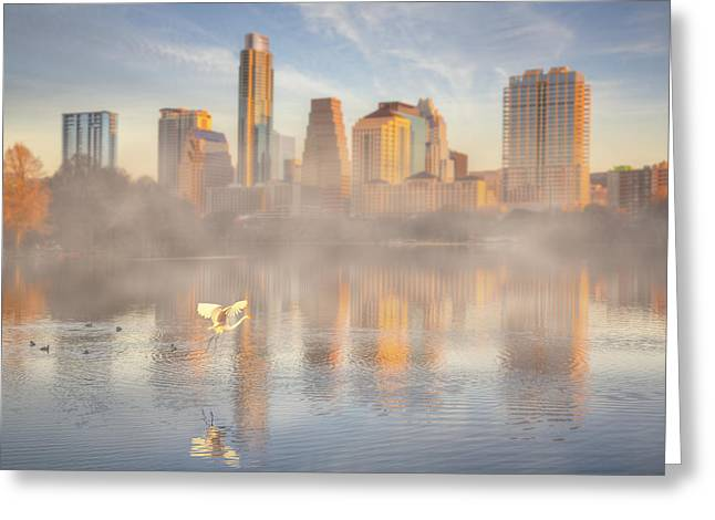 Nature And The Austin Skyline From The Boardwalk Greeting Card by Rob Greebon