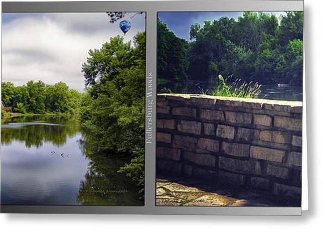 Nature Center 02 Flagstone Wall Fullersburg Woods 2 Panel Greeting Card