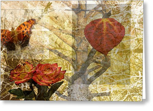 Nature Collage Greeting Card by Cherie Haines