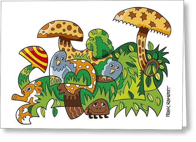 Nature Doodle Mushroom Grass Greeting Card by Frank Ramspott