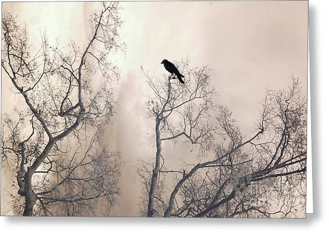 Nature Raven Crow Trees - Surreal Fantasy Gothic Nature Raven Crow In Trees Sepia Print Decor Greeting Card by Kathy Fornal