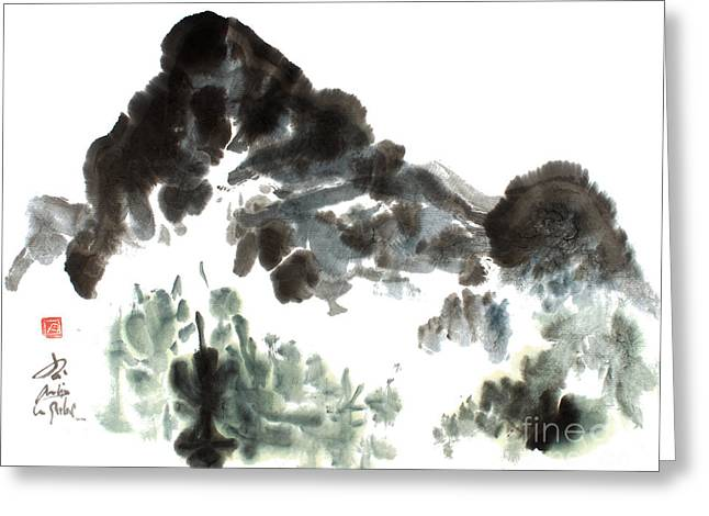 Nature Mountain Painting Greeting Card by Nadja Van Ghelue