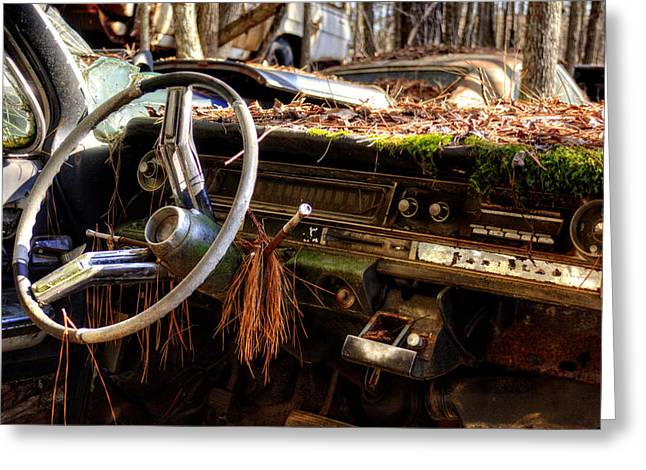 Nature Takes Over A Cadillac Greeting Card by Greg Mimbs