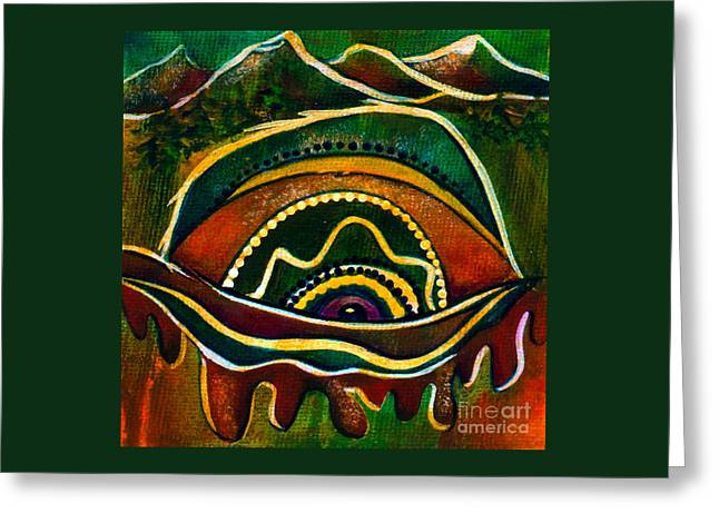 Greeting Card featuring the painting Nature's Child Spirit Eye by Deborha Kerr