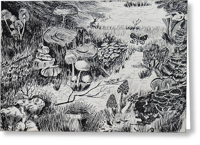 Natures Fungi Garden Greeting Card