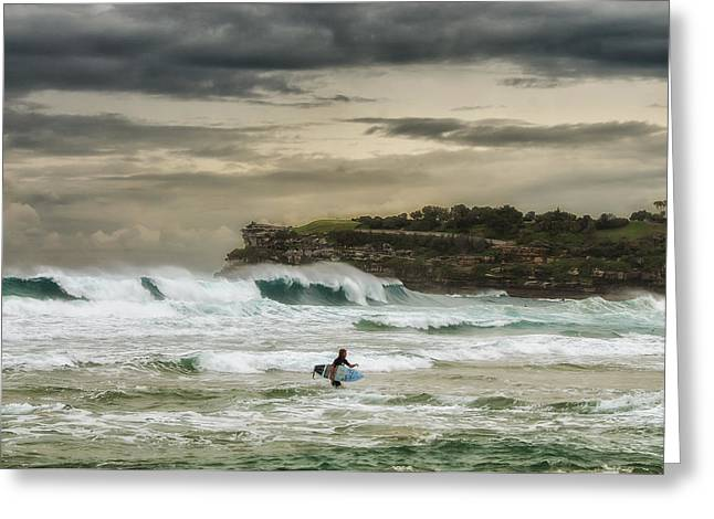 Greeting Card featuring the photograph Natures Fury Surfers Paradise - Bondi Beach - Australia - Colour by Photography  By Sai