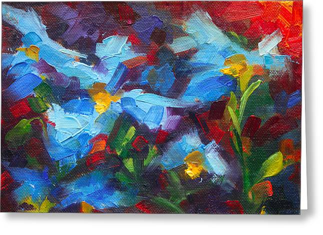 Nature's Palette - Himalayan Blue Poppy Oil Painting Meconopsis Betonicifoliae Greeting Card by Talya Johnson
