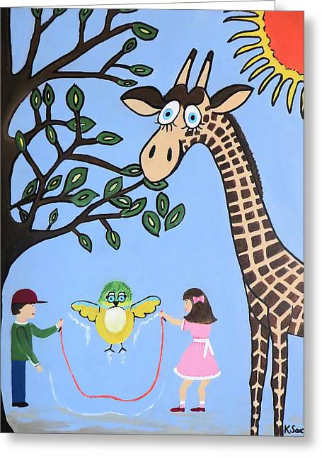 Greeting Card featuring the painting Nature's Playground by Kathleen Sartoris