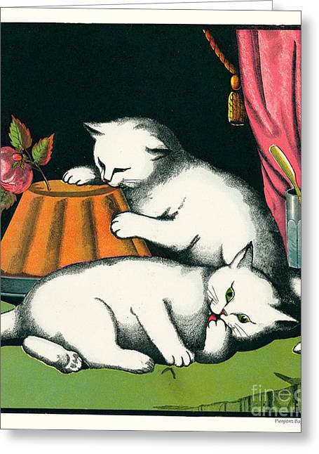 Naughty Cats Preen And Lounge With Rose Topped Cake Greeting Card