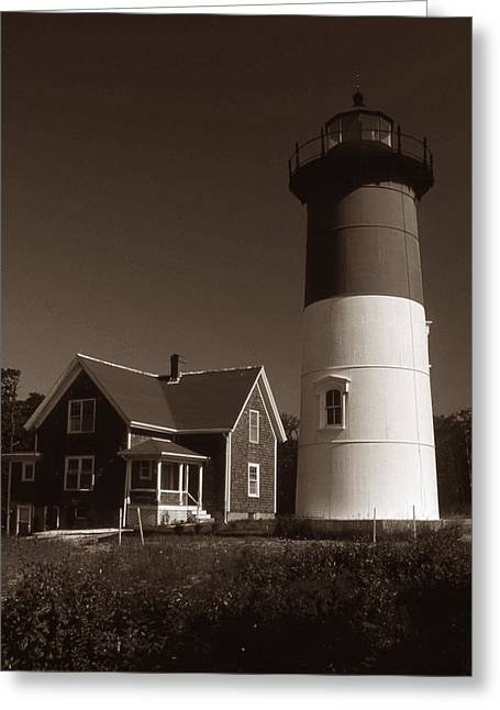 Nauset Lighthouse Greeting Card by Skip Willits