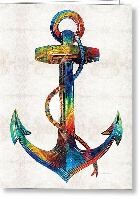 Nautical Anchor Art - Anchors Aweigh - By Sharon Cummings Greeting Card