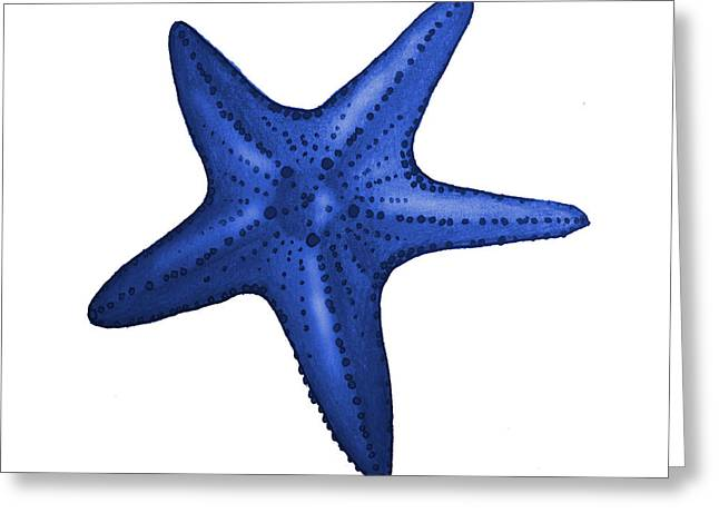Nautical Blue Starfish Greeting Card by Michelle Eshleman