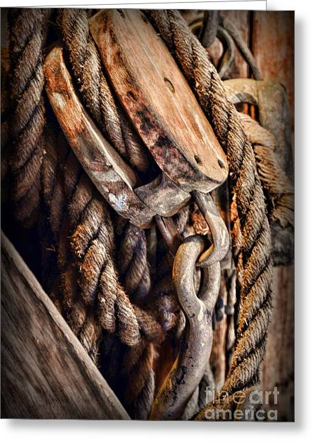 Nautical - Boat - Block And Tackle With Rope Greeting Card by Paul Ward