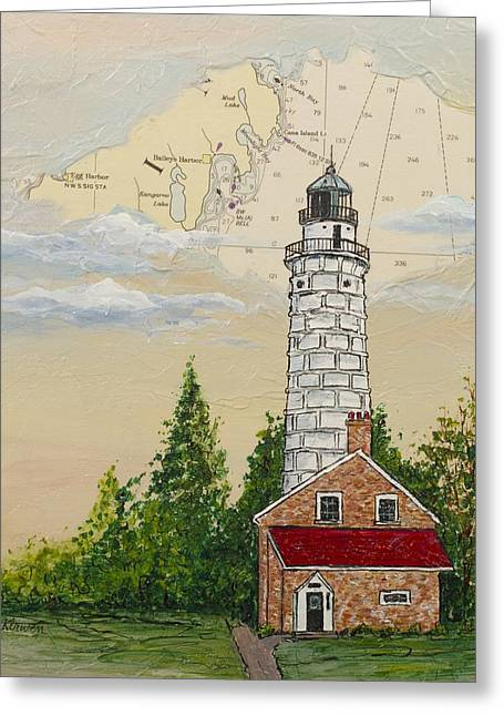 Nautical Chart Cana Island Lighthouse Greeting Card by Bethany Kirwen