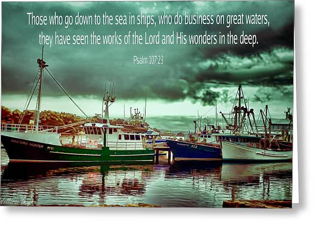 Nautical Greeting Card Down To The Seas In Ships Greeting Card by Wallaroo Images