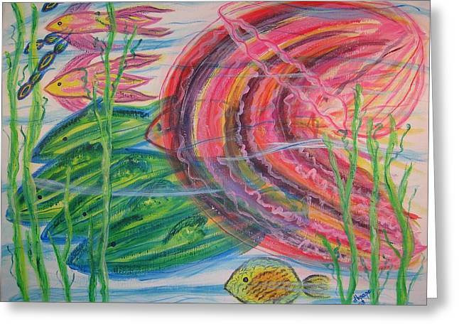 Greeting Card featuring the painting Nautical Rush Hour by Diane Pape